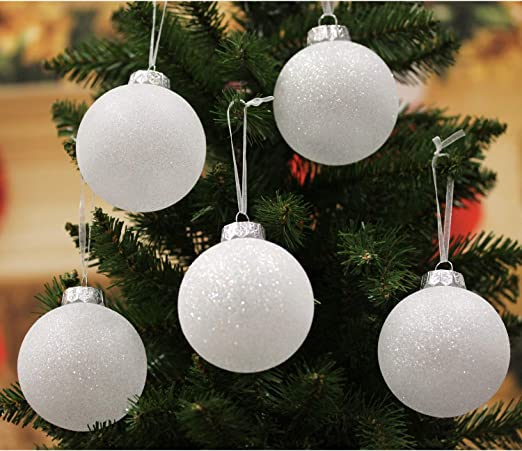 amazon com sleetly luxury white christmas ornaments snowball 3 15 inch set of 12 kitchen dining sleetly luxury white christmas ornaments snowball 3 15 inch set of 12