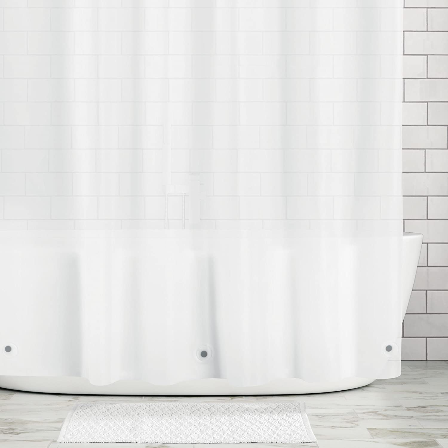 mDesign Long Waterproof, Mold/Mildew Resistant, Heavy Duty Premium Quality 4.8-Guage Vinyl Shower Curtain Liner for Bathroom Shower Stall and Bathtub - 72