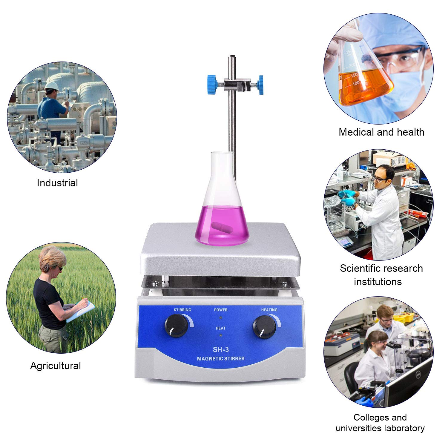 Stirring Bar /& Support Stand Included Magnetic Stirrer Hot Plate Mixer 3000mL 100-1600rpm 6.7 x 6.7 inch Max 380/°C 716︒F Hotplate Stirrer