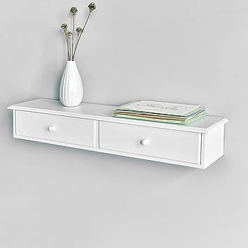 WELLAND Wall Mounted Storage Shelf With 2 Drawers, White