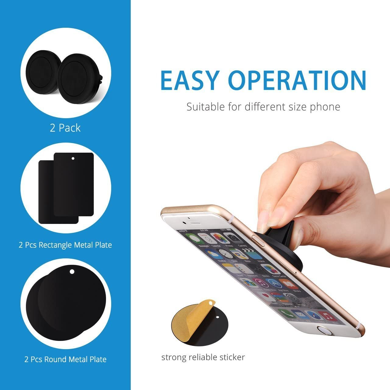 Air Vent Universal iPhone Samsung Smartphone Holder with Magnets and Metal Plates for Phones Cases Black 2 Packs iSunnao CM-7903 Magnetic Phone Car Mount Mounting Cellphones GPS Driving Gears