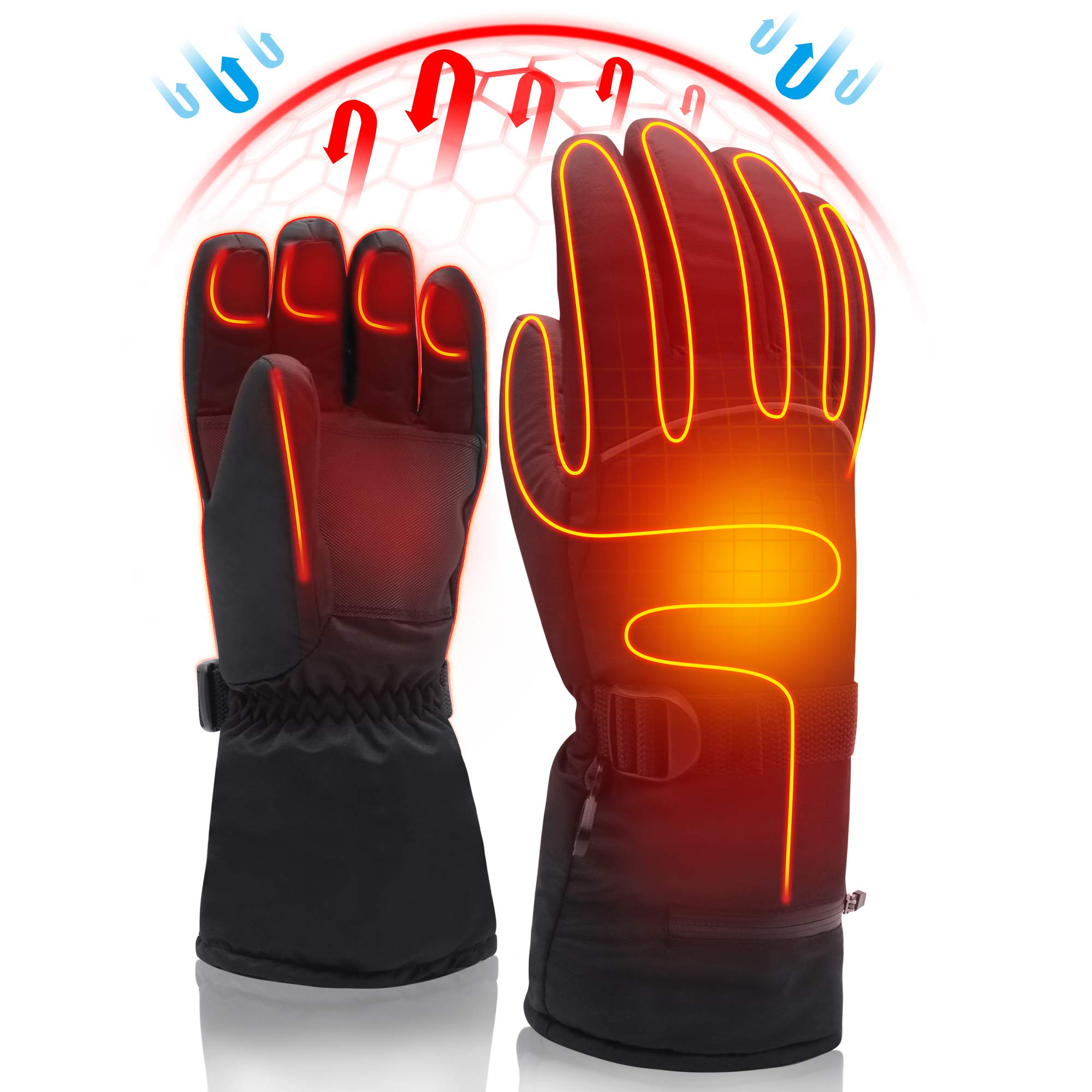 Electric Rechargeable Battery Heated Gloves,Cold Weather Thermal Heat Gloves Mittens,Sport Outdoor Warm Winter Heated Gloves,Cycle Motorcycle Drive Camp Hike Ski Heated Handwarmer (7.4V Gloves-XL) by SVPRO