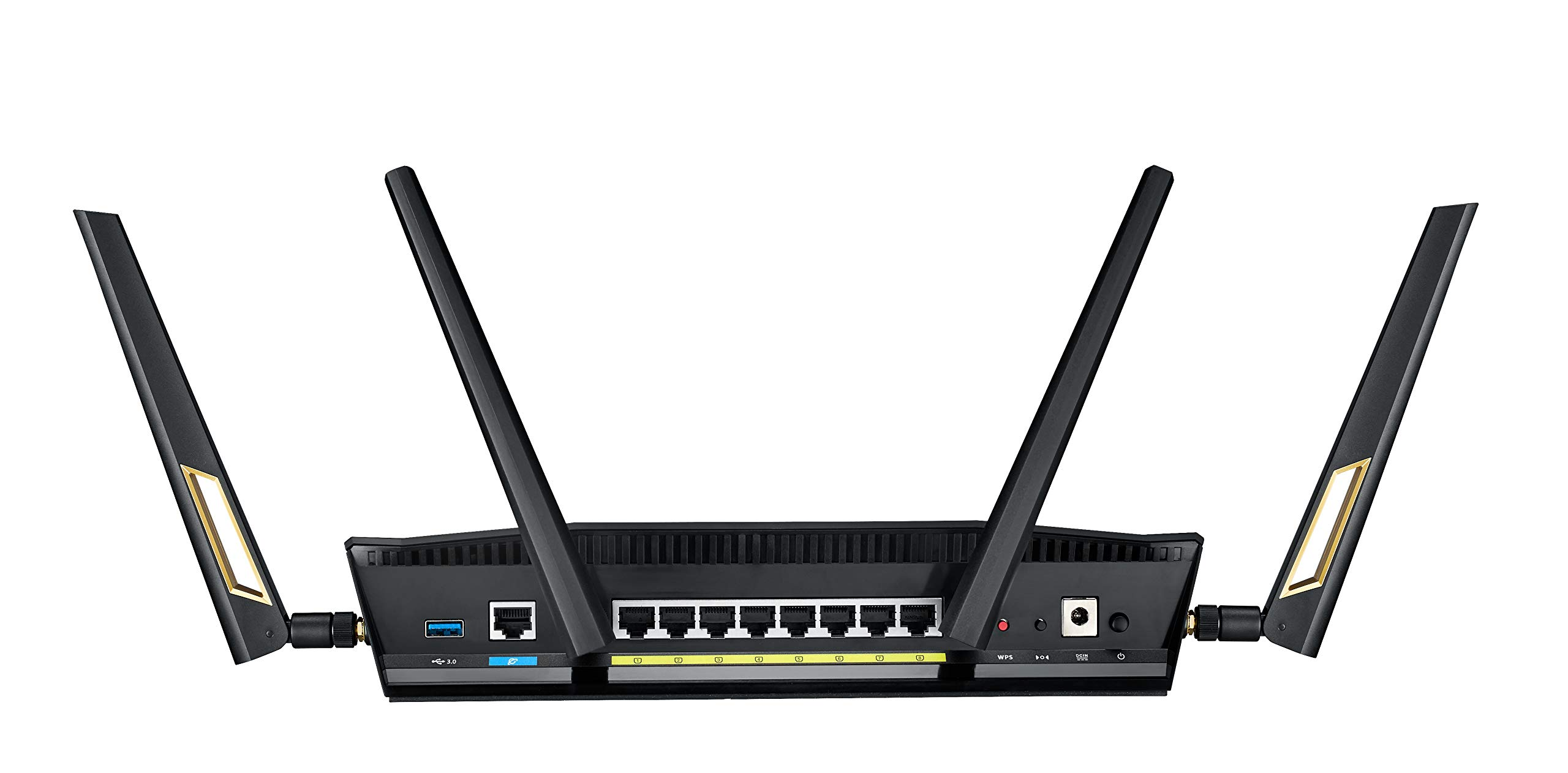 ASUS RT-AX88U AX6000 Dual-Band WiFi Router, Aiprotection Lifetime Security by Trend Micro, Aimesh Compatible for Mesh WiFi System, Next-Gen WiFi 6, Wireless 802.11Ax, 8 X Gigabit LAN Ports 2 Next-gen Wi-Fi standard - 802.11Ax Wi-Fi standard for better efficiency and throughput. Ultrafast Wi-Fi speed - 6000 Mbps Wi-Fi speed to handle even the busiest network with ease. Wider usage and more convenience - 4 antennas + 8 LAN ports to support more clients at the same time.