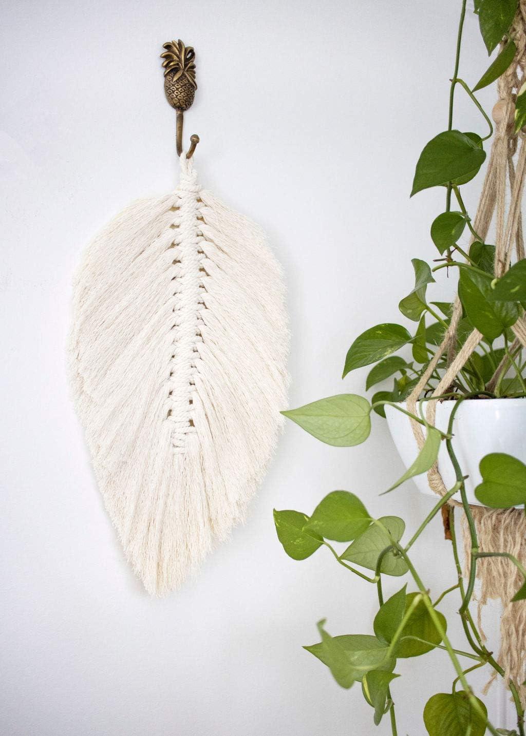 "Macrame Feather Wall Hanging - Boho Wall Decor Modern Macrame Décor | Large Macrame Feather 18"" x 9"" | Nursery Décor Dorm Room Bedroom Bohemian Décor"