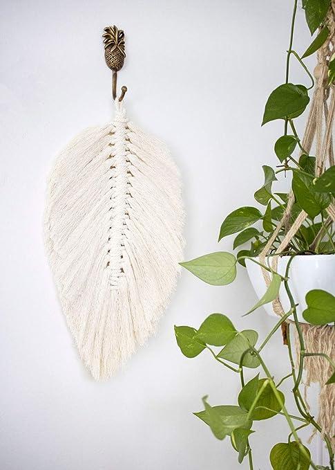Macrame Leaf Wall Hanging Small Macrame Trendy Home Decor Bohemian Wall Art Wall Hanging Macrame Leaf Driftwood