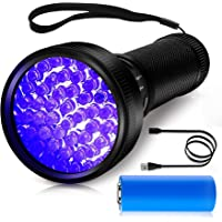 Oplaadbare UV Zaklamp, Morpilot® 51 LED UV Black Light Zaklamp 395nm Ultraviolet met USB Kabel en 3000mAh Oplaadbare…