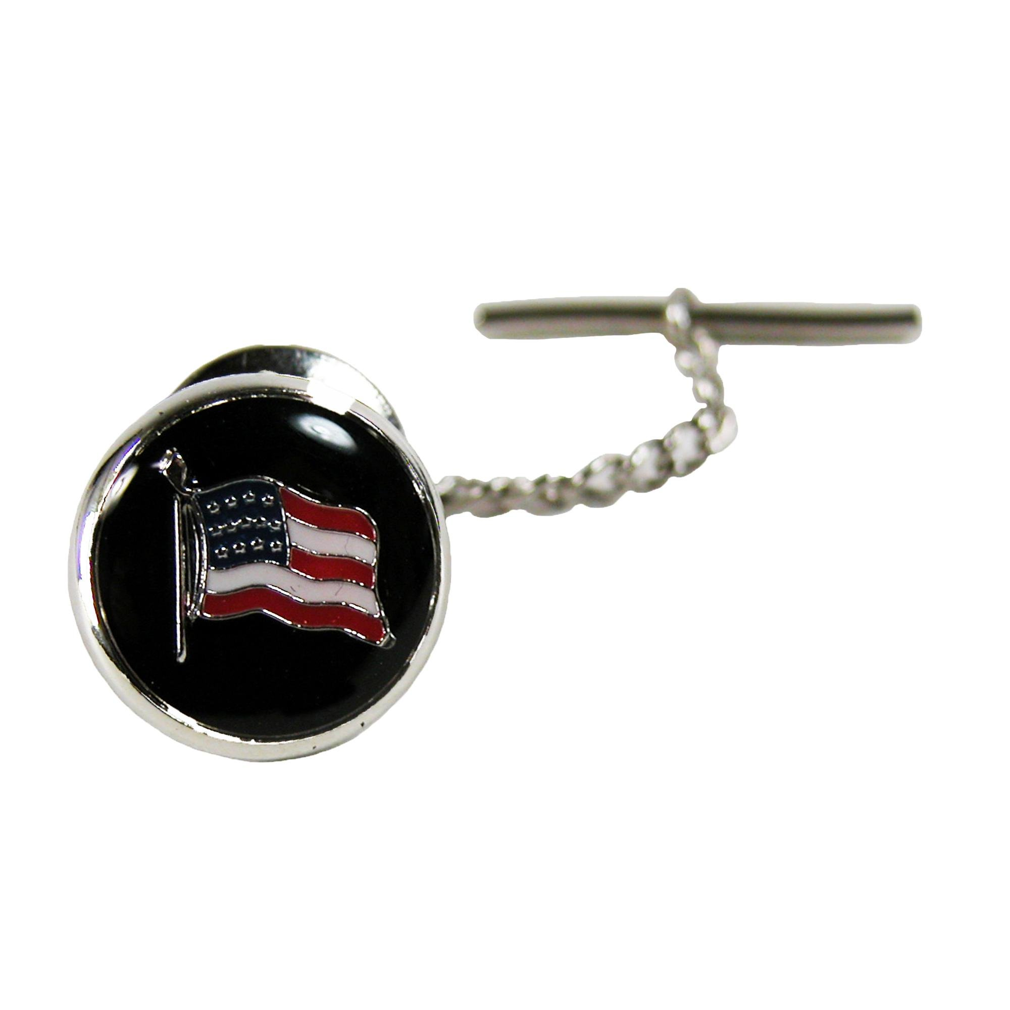Competition Inc. American Flag Tie Tac, Silver