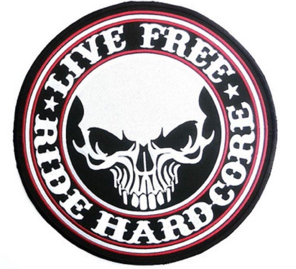 クールパンクLive Free Ride HardcoreスカルAttached粘着Iron on / sew on Largeサイズパッチ9.5インチ刺繍バイカージャケットベストMatorcycle B01FJDZA16
