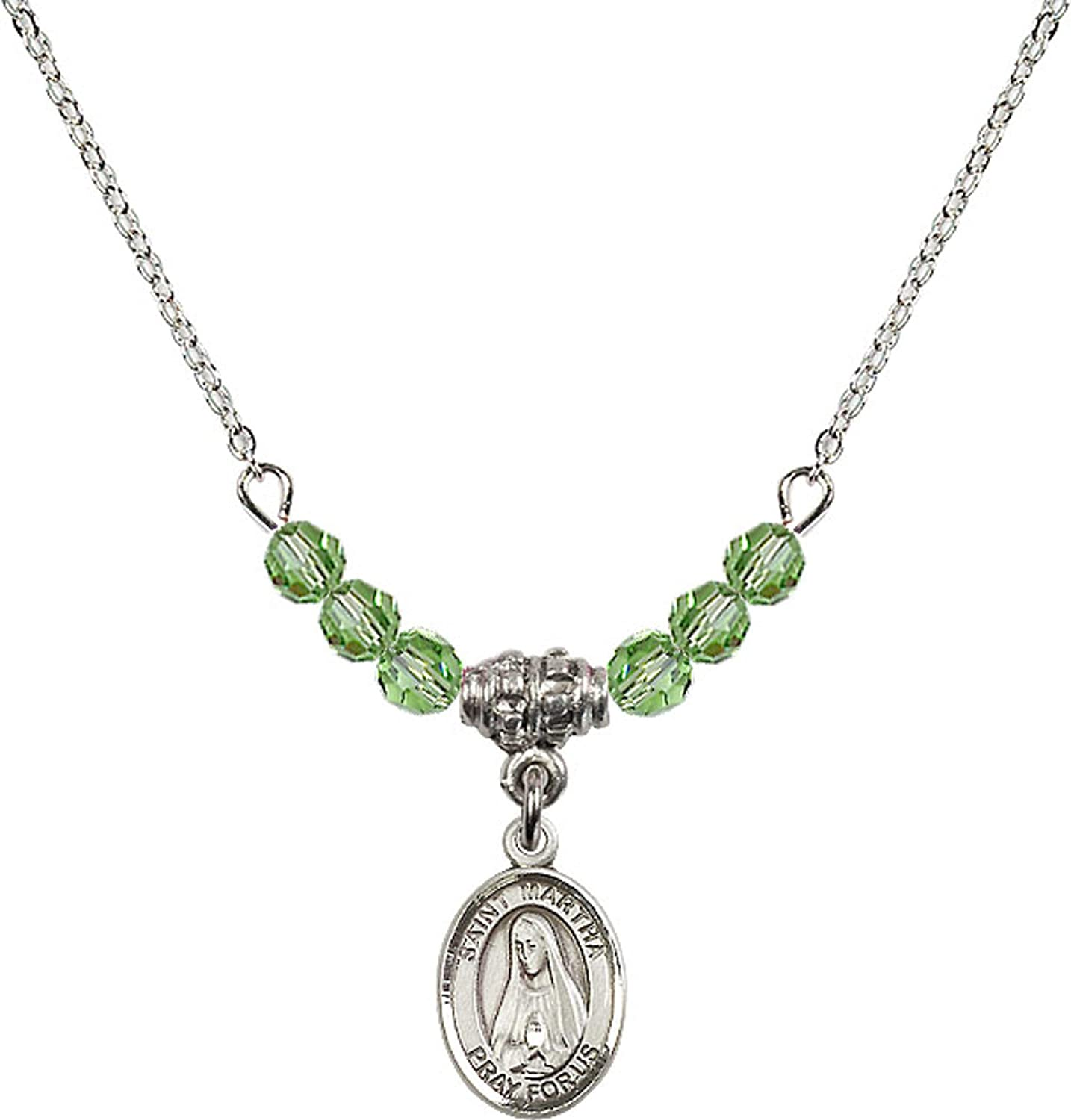 Bonyak Jewelry 18 Inch Rhodium Plated Necklace w// 4mm Green August Birth Month Stone Beads and Saint Martha Charm