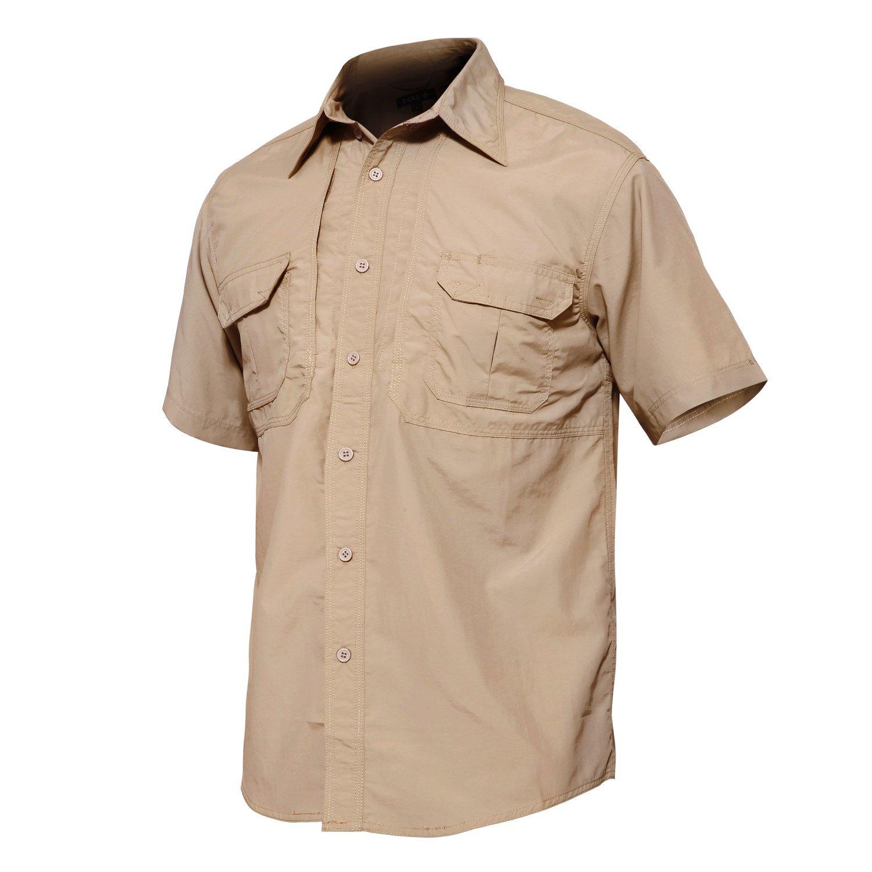 TACVASEN Mens Solid Sleeve Tactical Short Short Sleeve Shirt Khaki