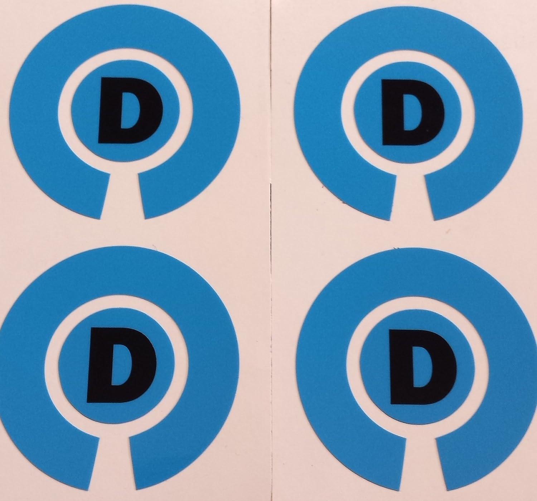 Crown Green Lawn Indoor Bowls Adhesive Lettered Coloured Marker Labels Set of 4 (Blue, D)