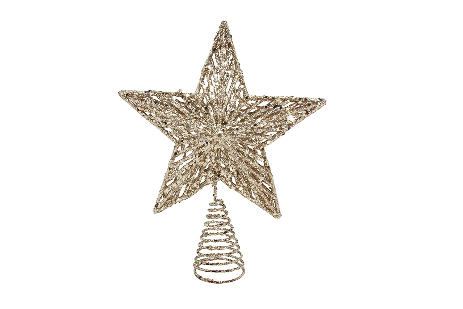 Gisela Graham Christmas White Gold Colour Glitter Tree Top Star ...