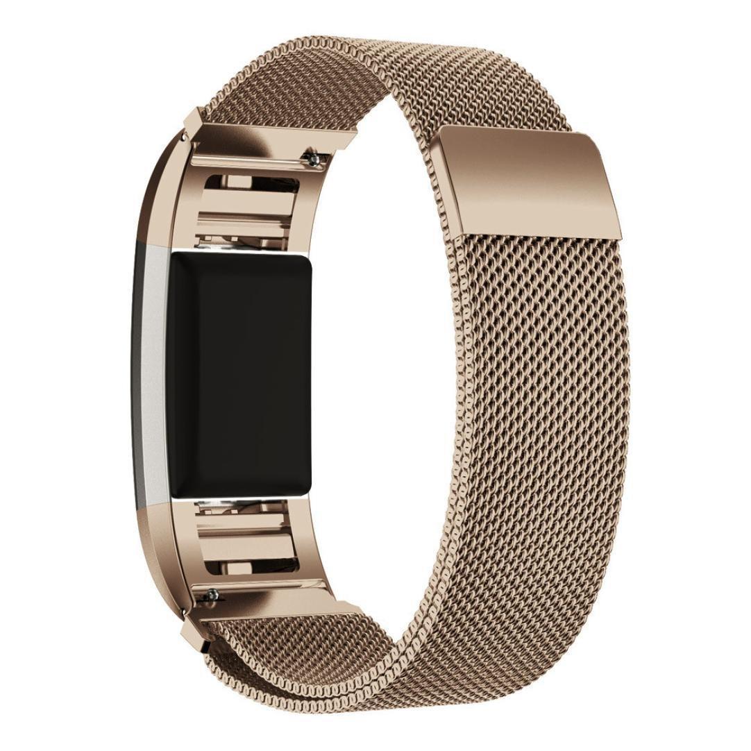 Leefrei ミラネーゼループ編みステンレススチール時計バンド 交換用ベルト Fitbit Charge 2対応 B06VT7DHWF シャンパンゴールド Small: 4.9\