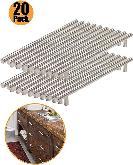 76 mm acier inoxydable 256 mm 160 mm Boutons de portes en T pour meubles de cuisine 64 mm 96 mm 224 mm 192 mm 128 mm Probrico 9 tailles : 50 mm