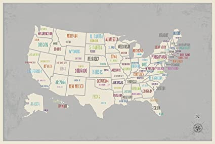 Amazon.com: USA Wall Map Art Print, 18x24 Inch Print,Kid\'s USA Wall ...