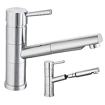 Ausziehbar Küchenarmatur Chrom Mischbatterie Spüle Wasserhahn Küche  schwenkbar Spülbecken Armatur Brause