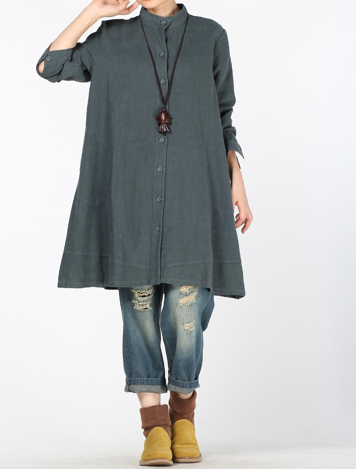 Mordenmiss Women's Cotton Linen Full Front Buttons Jacket Outfit with Pockets Style 1 L Dark Green by Mordenmiss (Image #3)