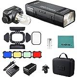 Godox AD200 Pocket Flash Speedlite pour Nikon Sony Canon EOS cameras + AD-S15 Flash Protecteur d'ampoule+ BD-07 Porte à grange avec grille en peigne de miel et 4 Filtres + Chiffon en Andoer
