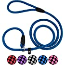 CollarDirect Rope Slip Lead for Small Medium Large Dogs - 6 ft Long - Braided Pets Slip Leash Strong Training Dog Lead Pink Grey Purple Red Blue Black