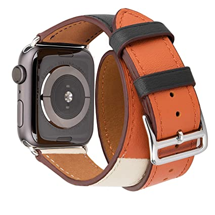 Genuine Leather Watch Band 40mm 38mm Wrist Strap Replacement for 40 mm Series 4 and Series 1 2 3 38 mm Replace Smartwatch Double Tour Loop Bracelet ...