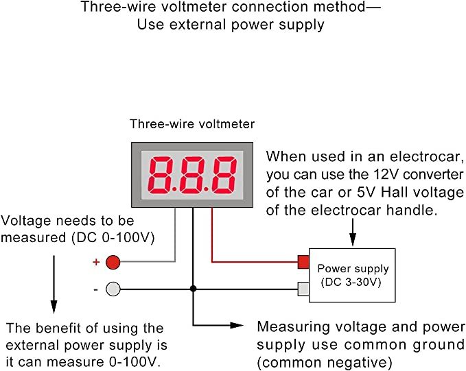motorcycle voltmeter wiring diagram 5 pieces 3 wires 0 28  red led display panel digital dc 0 100v  red led display panel digital dc 0 100v