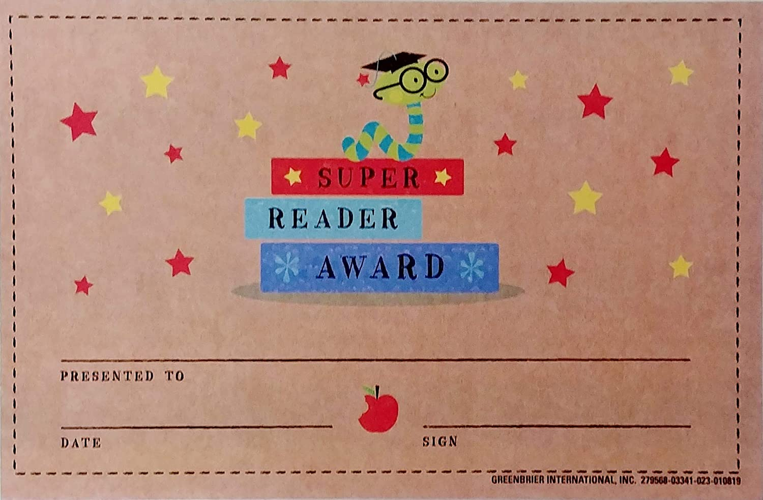 Pack Set of Super Reader Award with Book Worm - Personalize Classroom Recognition Reward System for Kid Child School Students Teacher Homeschool - Award Incentive Certificate