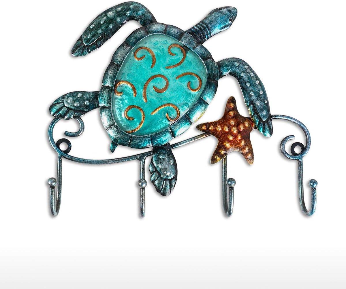 Tooarts Wall Mounted Key Holder Turtle Wall Hooks Iron Key Hook Rustic Wall Decorative Hook Living Room Bathroom Ornament