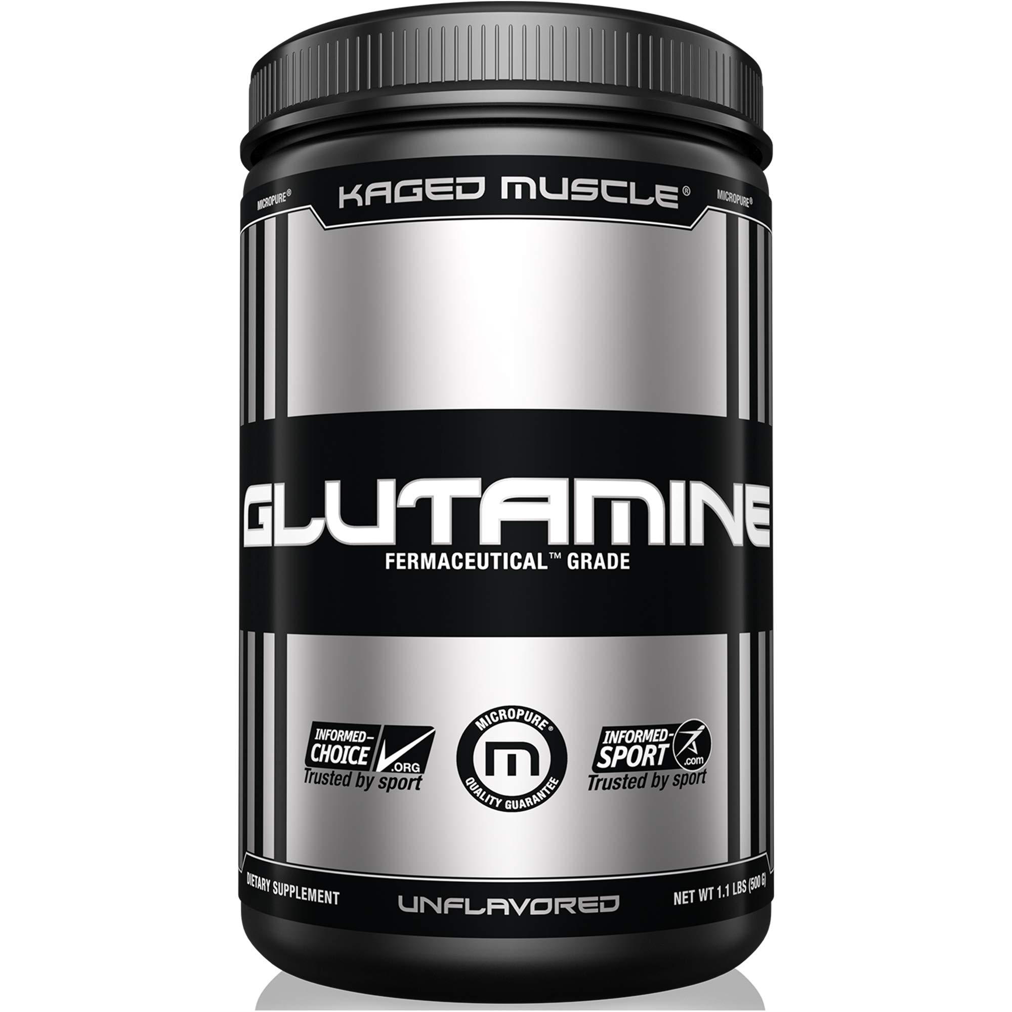KAGED MUSCLE, L-Glutamine Powder 500 Gram, Vegan, Support Muscle Recovery, Post Workout, Glutamine, Banned-Substance Free, Unflavored, 100 Servings by Kaged Muscle