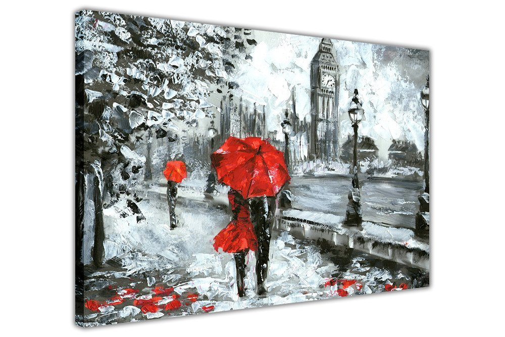 Couple holding a red umbrella in london on framed canvas wall art prints oil painting re print home decoration pictures size a4 12 x 8 30cm x 20cm