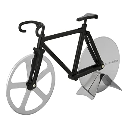 Review Bicycle Pizza Cutter - Original PIZZA WHEELIE - Dual Stainless Steel Bike Wheels- Includes Kitchen Display Stand