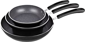 Cook N Home 3 Pieces Frying Saute Pan Set with Non-stick Coating and Induction Compatible bottom, 8