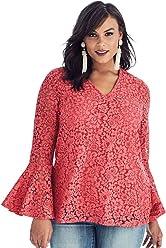 2d28bce48661e Roamans Women s Plus Size Lace Bell-Sleeve Blouse
