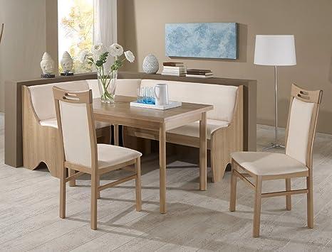 Panca ad angolo gruppo Saron Noce decorazione beige 2 x sedia tavolo ...