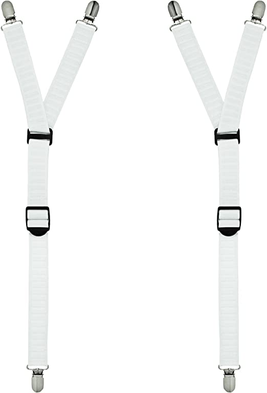 Men/'s Y-Style Shirt Stay Garter Suspenders Military With Stainless Steel Clips