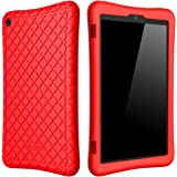 Bear Motion Silicone Case for Fire HD 8 2017 - Anti Slip Shockproof Light Weight Kids Friendly Protective Case for Amazon All-New Fire HD 8 Tablet with Alexa (7th Gen 2017 Model) (Red)
