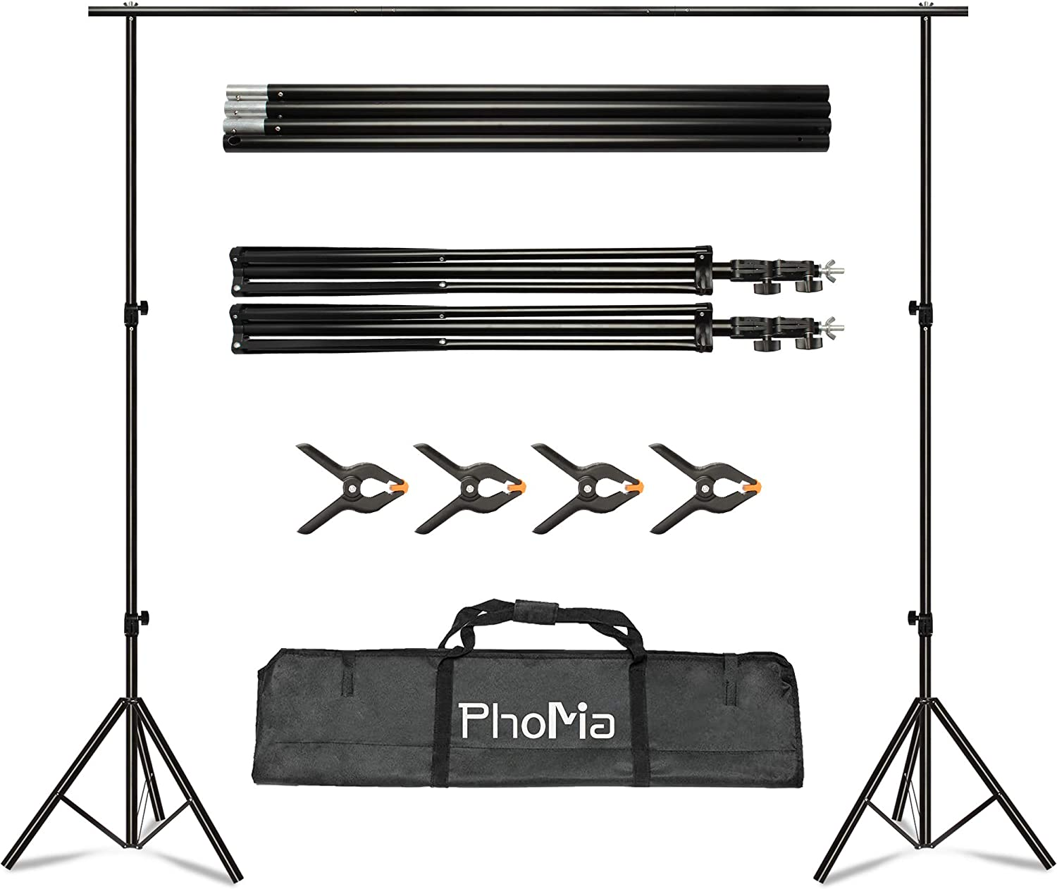 PhoMia Backdrop Stand 8.2x10 ft Background Stand Adjustable Photo ...