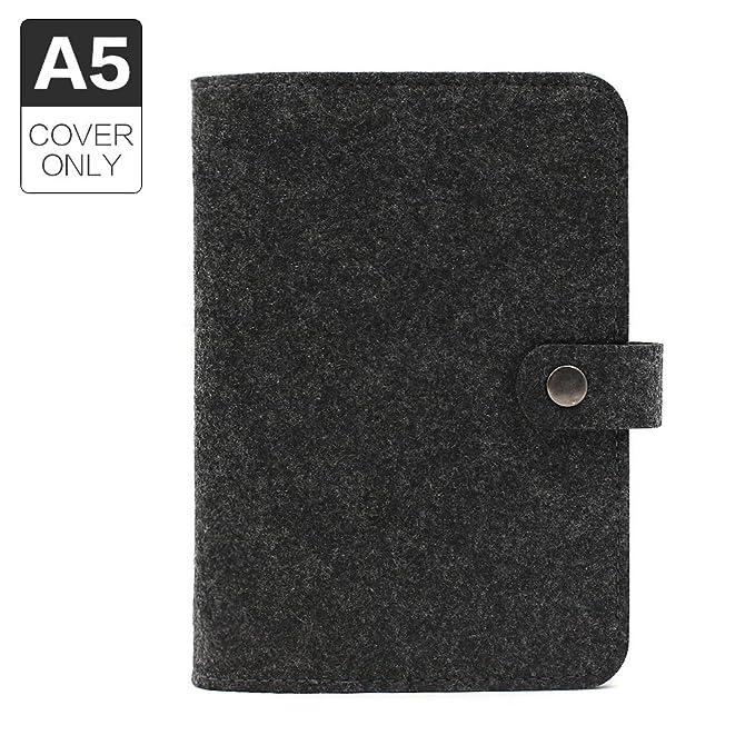 Funda de diario, tamaño A5, con 6 anillas, de fieltro, sin páginas de recambio., color A5 Black