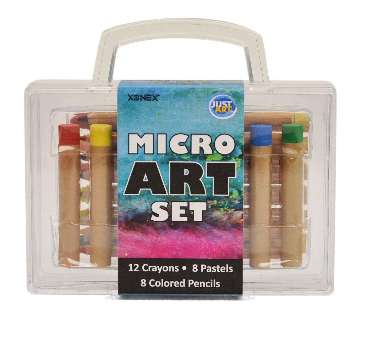 Xonex Micro Art Set, Stores 12 Micro Crayones, 8 Micro Colored Pencils, 8 Micro Oil Pastels, 5 X 5-1/2 X 1-1/2 Inches, 1 Count (59034)