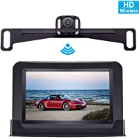 DoHonest Wireless Backup Camera System with 4.3 Inch HD Monitor for Cars/SUV/Mini Vans/Pickups Super Night Vision Rear/Front View Camera IP69 Waterproof Camera Guide Lines On/Off