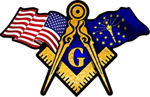 "ProSticker 049 (One) 3"" X 5"" Masonic Series American & Indiana Flags Compass Square Decal Sticker"