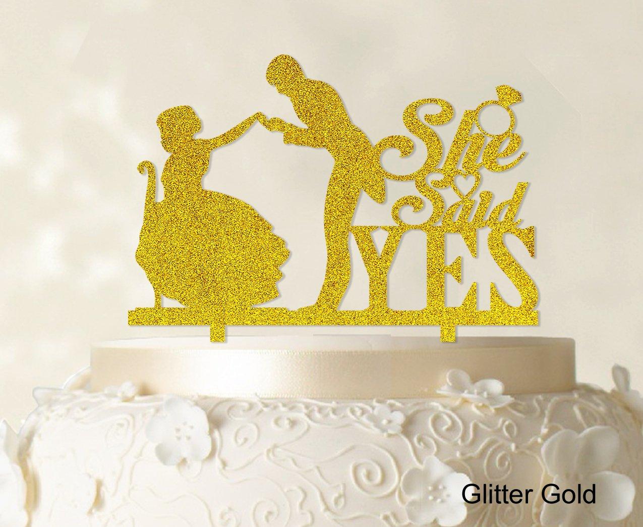 She Said Yes Wedding Cake Topper Custom Name Cake Topper Color ...