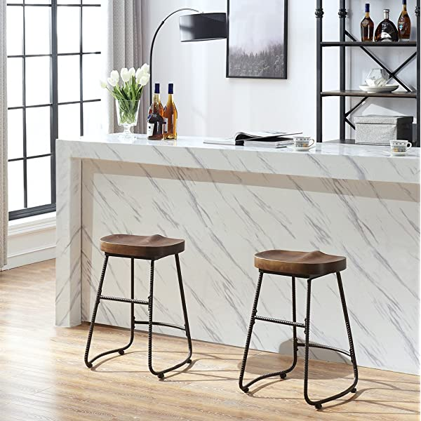 O&K Furniture Contoured Saddle Seat 24-Inch Backless Bar Stool Chair for Home Kitchen Island or Counter, Wooden Barstool with Metal Leg, Vintage Walnut, 1-Pcs