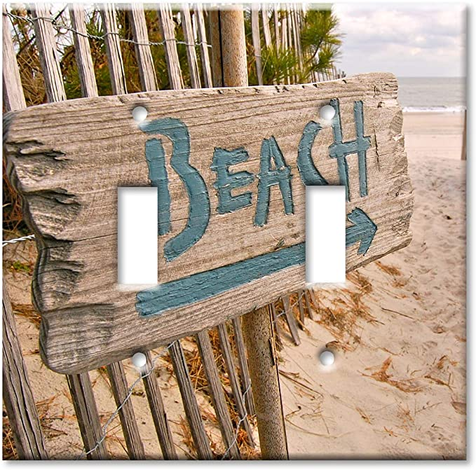 Art Plates 2 Gang Toggle Oversized Switch Plate Over Size Wall Plate Beach This Way Amazon Co Uk Diy Tools
