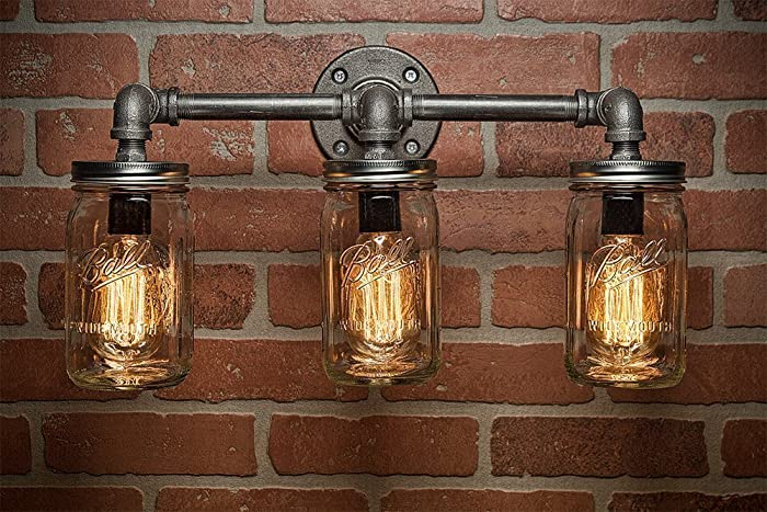 steampunk lighting. farmhouse lighting - mason jar light steampunk bar industrial s