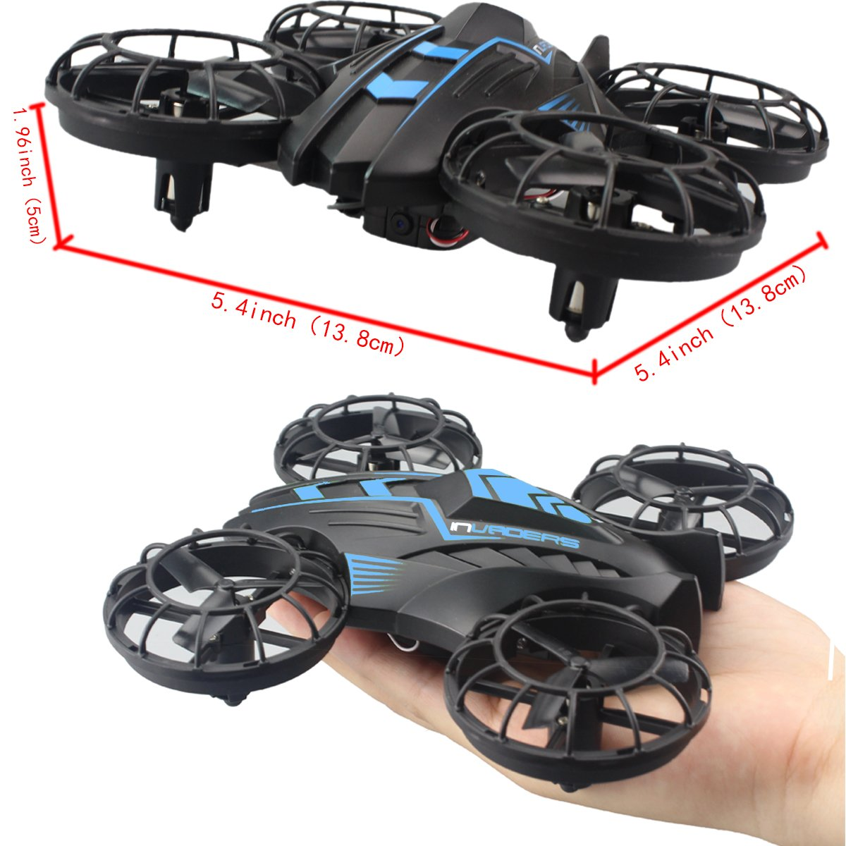 Fistone RC Drone WIFI FPV Quad-rotor 2.4G 6-Axis Gyro Altitude Hold Helicopters Nano Airscrew Portable Aircraft 3D Flip Remote Control UFO Exploration multirotors Electronic Hobby Toys(Blue)