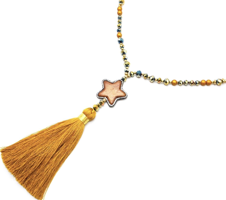 Oh My Shop CL2392F – Collar Largo con Perlas de Resina y Brillantes con Piedras de estrás y pompón Mostaza