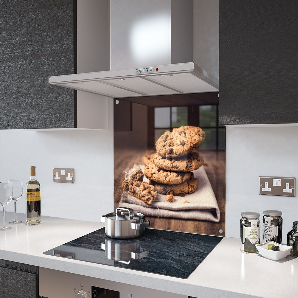 60cm Wide x 60cm High Premier Range Chocolate Chip Cookie Splashback Fixing Holes