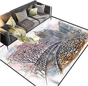 Landscape,Ultra Soft Indoor Area Rugs,City Bridge Old Buildings Decorative Footcloth/Floor Cover/Play Mat,3 x 5 feet