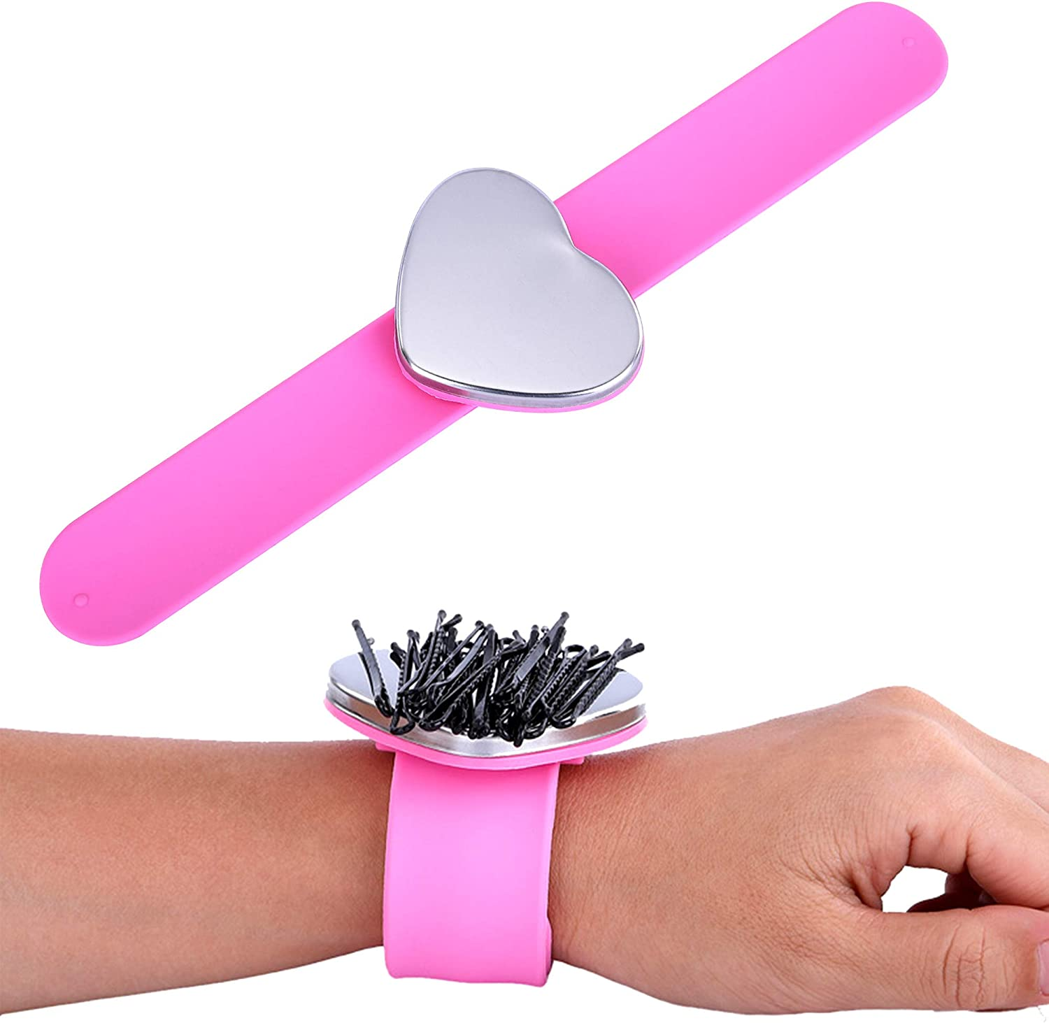 Healifty 2 pieces magnetic pin cushion bracelet magnetic arm pin cushion clap bracelet wrist silicone bracelet snap bracelet silicone magnetic bracelet for hairdresser sewing sewing needles cushion