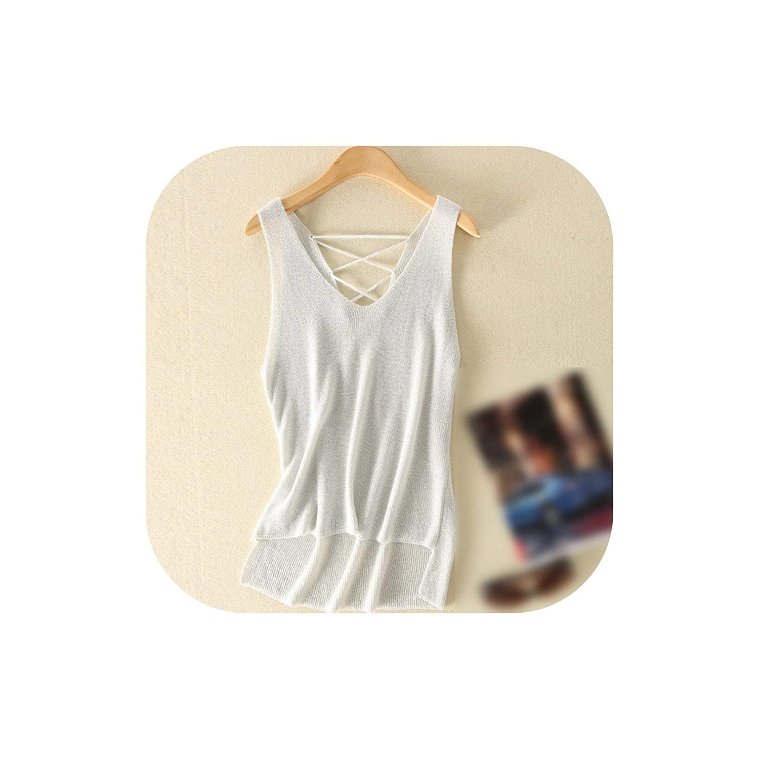WHITE One Size Women Summer Camisole Tank Top Back Up Hollow Out Female Knitted Tops T Shirt Party Vest
